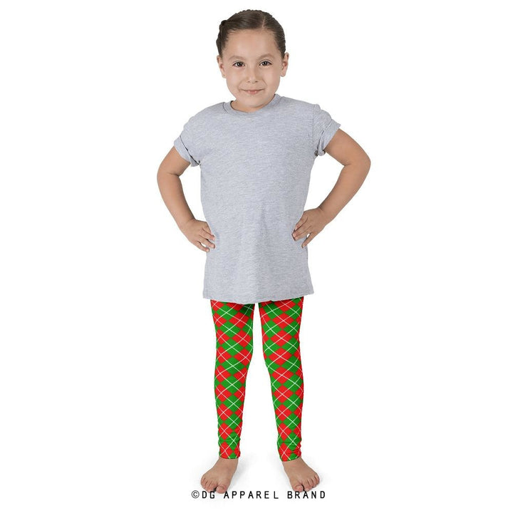 Christmas Argyle Kids' Leggings -   | DG Apparel Brand