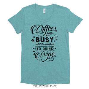 Coffee & Wine Women's Crew Neck T-shirt -   | DG Apparel Brand