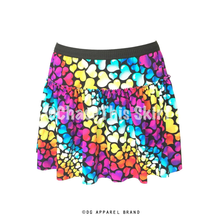 Multicolor Hearts Running Skirt -  Running Skirt | DG Apparel Brand