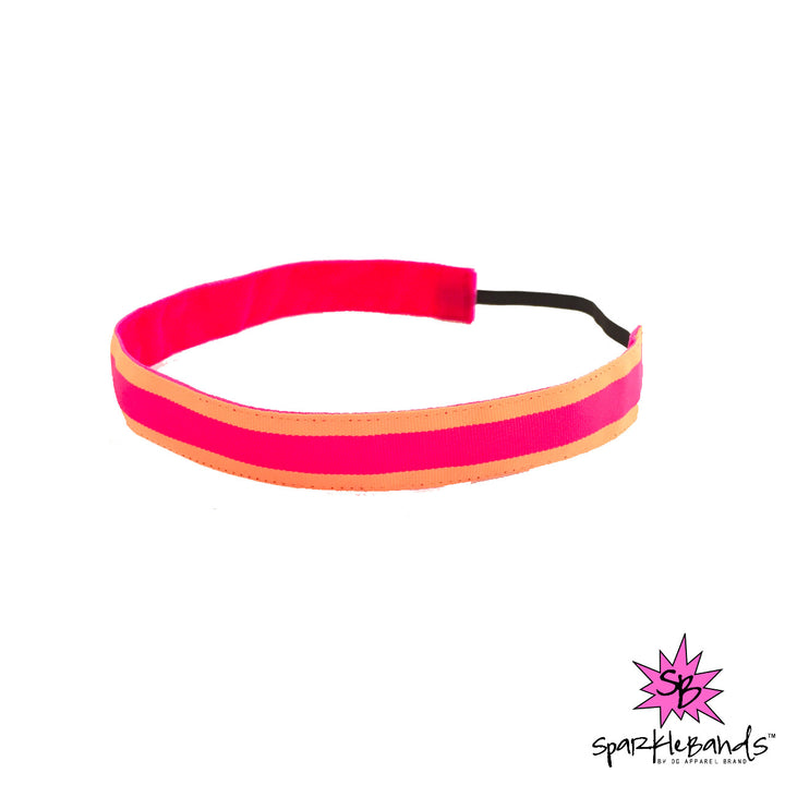 Orange and Pink Stripe Headband -  Non-Slip Headband | DG Apparel Brand
