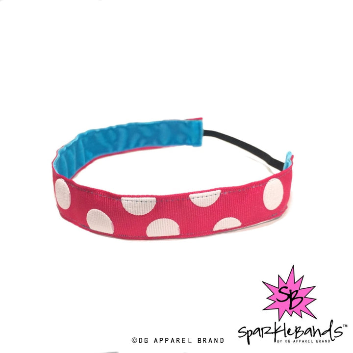 Big White Polka Dots Pink Headband -  Non-Slip Headband | DG Apparel Brand