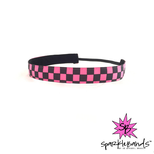Pink & Black Checkered Headband -  Non-Slip Headband | DG Apparel Brand