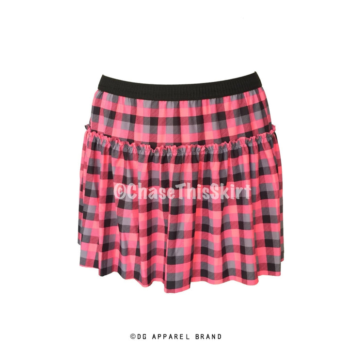 Pink and Black Plaid Running Skirt -  Running Skirt | DG Apparel Brand