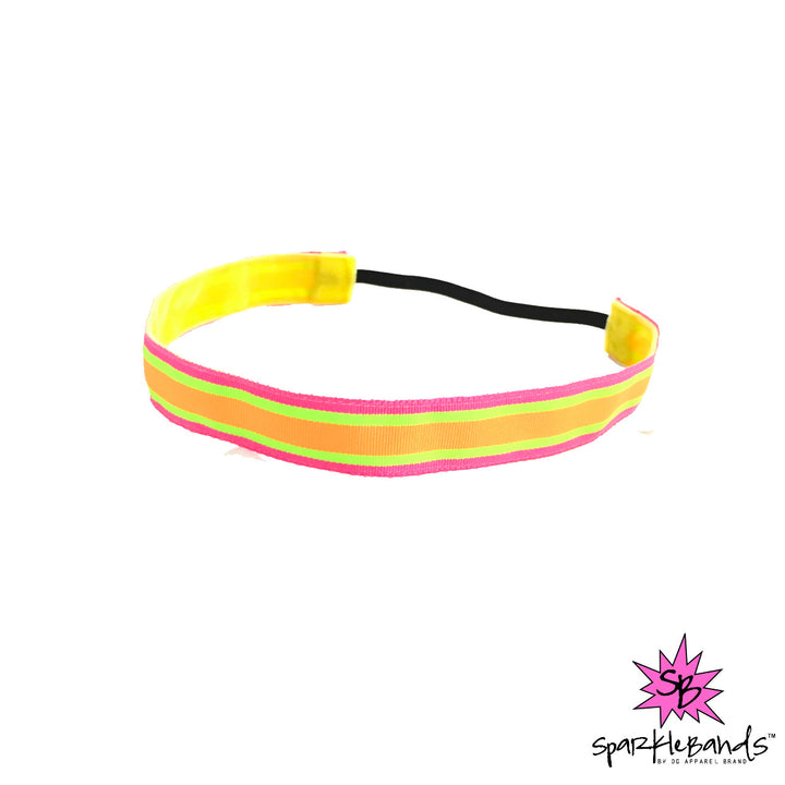 Pink, Green, and Orange Stripe Headband -  Non-Slip Headband | DG Apparel Brand