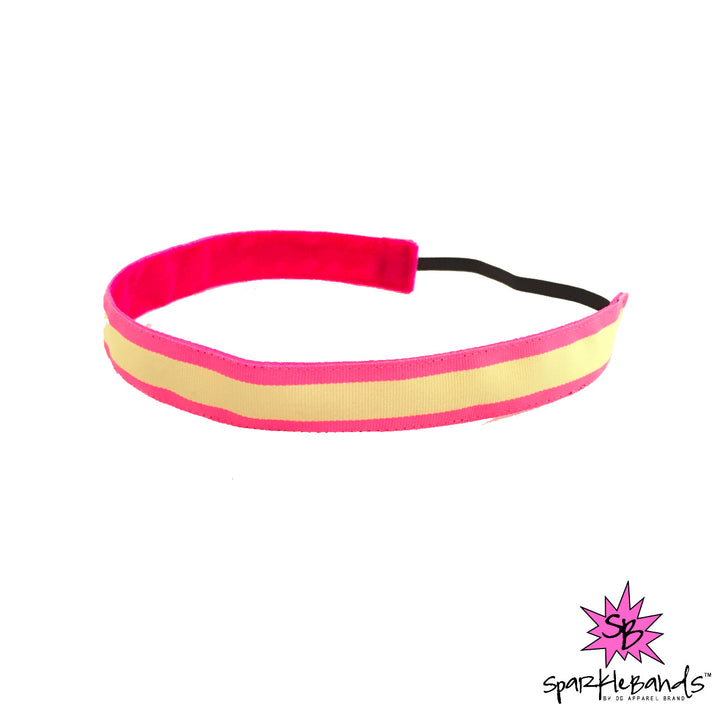 Pink and Green Stripe Headband -  Non-Slip Headband | DG Apparel Brand
