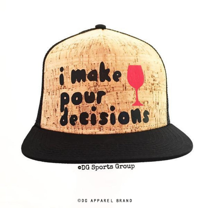"""I Make Pour Decisions"" Real Cork Trucker Hat -  Trucker Hat 