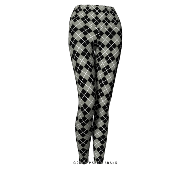 Black and Gray Argyle Leggings -  Leggings | DG Apparel Brand