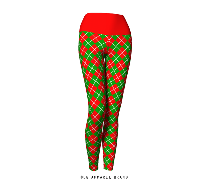 Red and Green Argyle Leggings -  Leggings | DG Apparel Brand