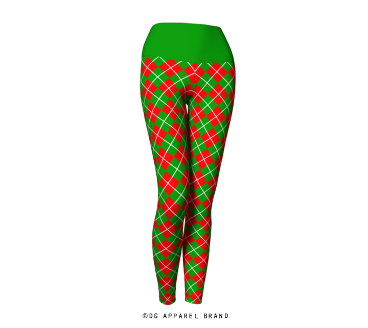 Green and Red Argyle Leggings -  Leggings | DG Apparel Brand