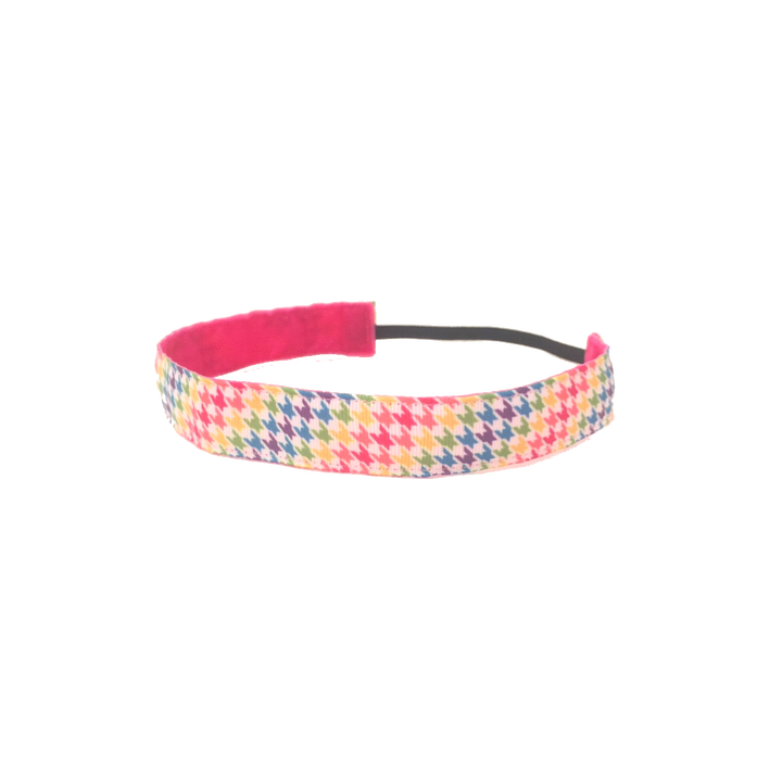 Rainbow Houndstooth Headband -  Non-Slip Headband | DG Apparel Brand