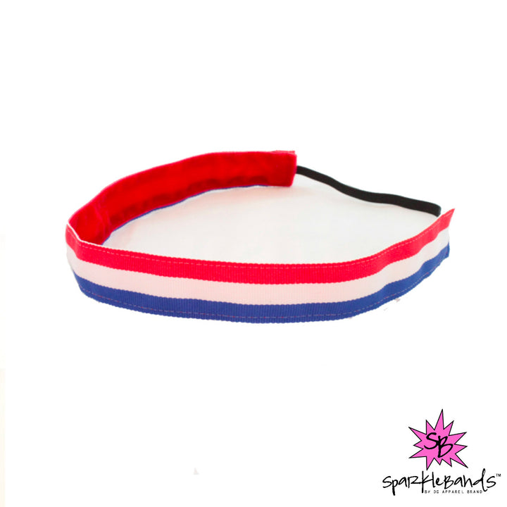 Red, White & Blue Striped Headband -  Non-Slip Headband | DG Apparel Brand