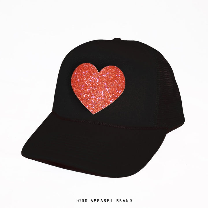 Sparkle Heart Trucker Hat in Black with Orange Sparkle -  Trucker Hat | DG Apparel Brand