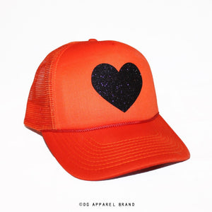 Sparkle Heart Trucker Hat in Orange with Black Sparkle -  Trucker Hat | DG Apparel Brand
