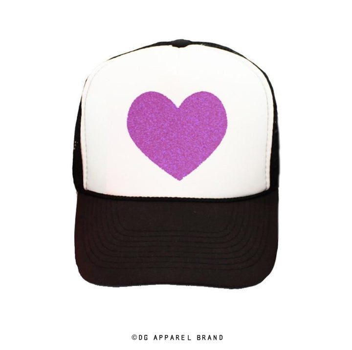 Sparkle Heart Trucker Hat in Black and Purple Sparkle -  Trucker Hat | DG Apparel Brand