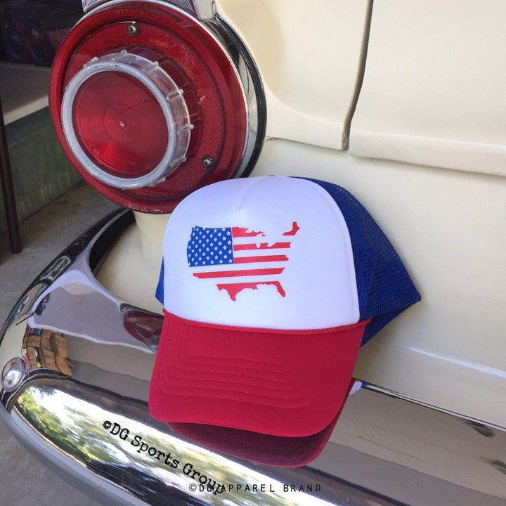 USA Country Outline Flag Trucker Hat for Kids -  Trucker Hat | DG Apparel Brand