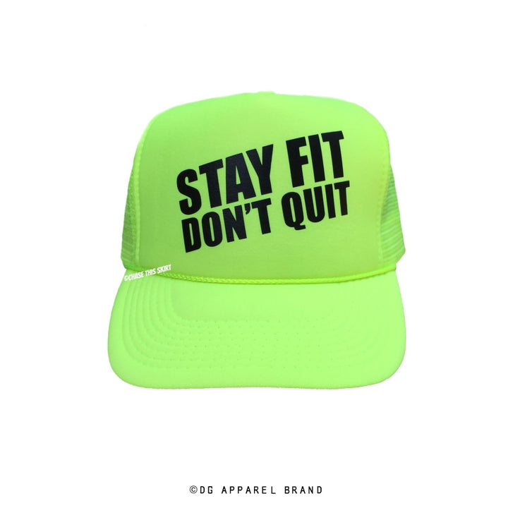 Stay Fit Don't Quit Trucker Hat in Lime -  Trucker Hat | DG Apparel Brand