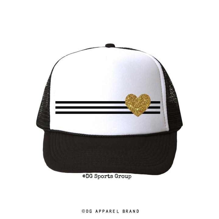Stripe Heart Trucker Hat -  Trucker Hat | DG Apparel Brand