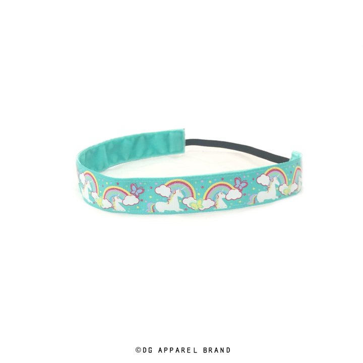 Teal Unicorns and Rainbows Headband -  Non-Slip Headband | DG Apparel Brand
