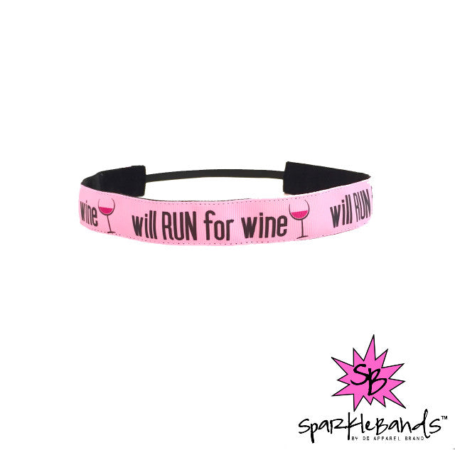 Will Run For Wine Headband -  Non-Slip Headband | DG Apparel Brand