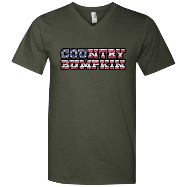 """Country Bumpkin"" Camo US Flag Text Anvil Men's Printed V-Neck T-Shirt"