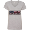 """Country Bumpkin"" Camo US Flag Text Anvil Ladies' V-Neck T-Shirt"