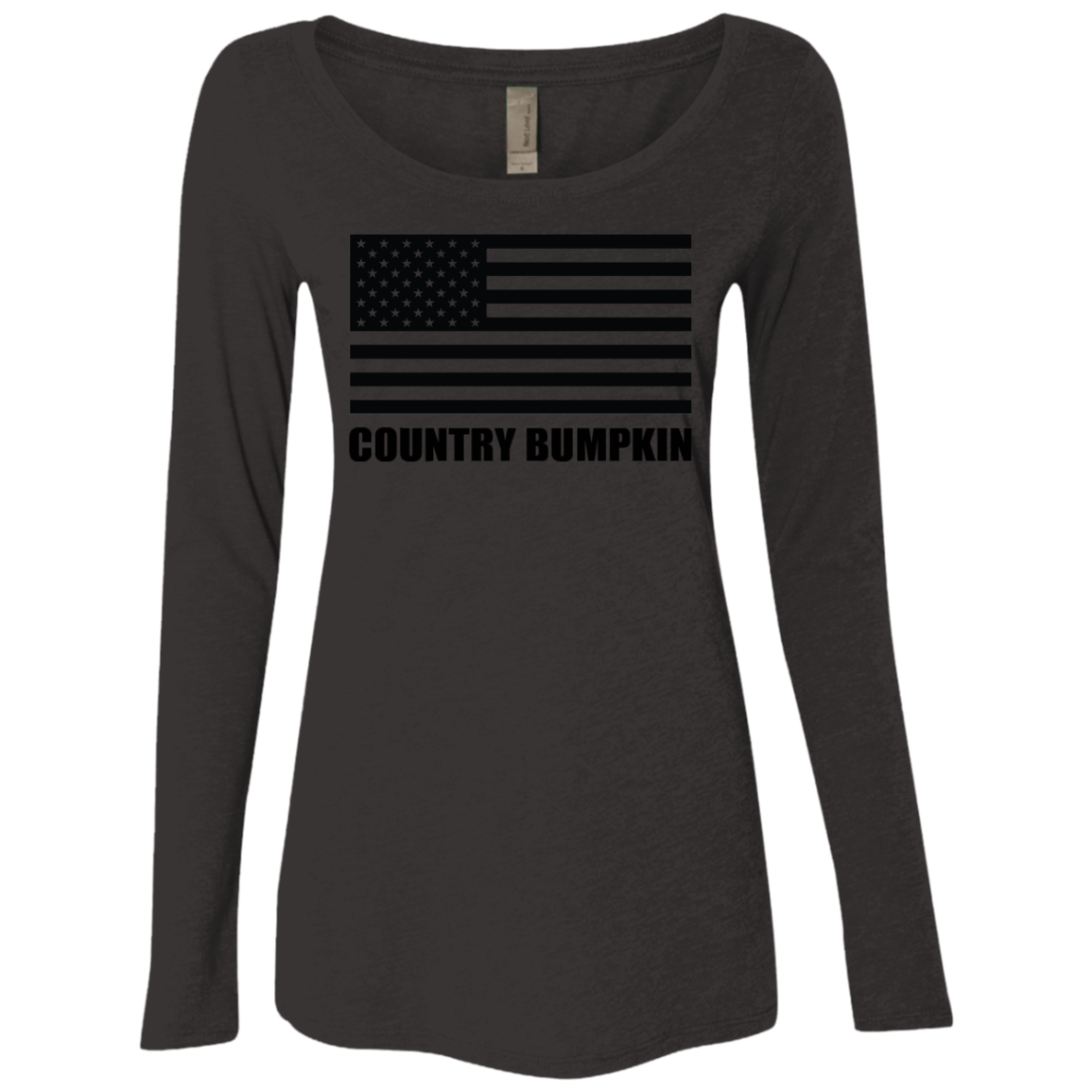 Country Bumpkin Black USA Flag NL6731 Ladies' Triblend LS Scoop