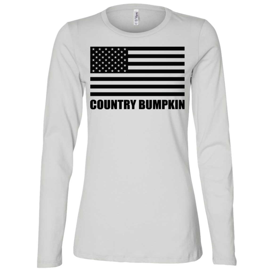 Country Bumpkin Black USA Flag B6450 Ladies' Jersey LS Missy Fit