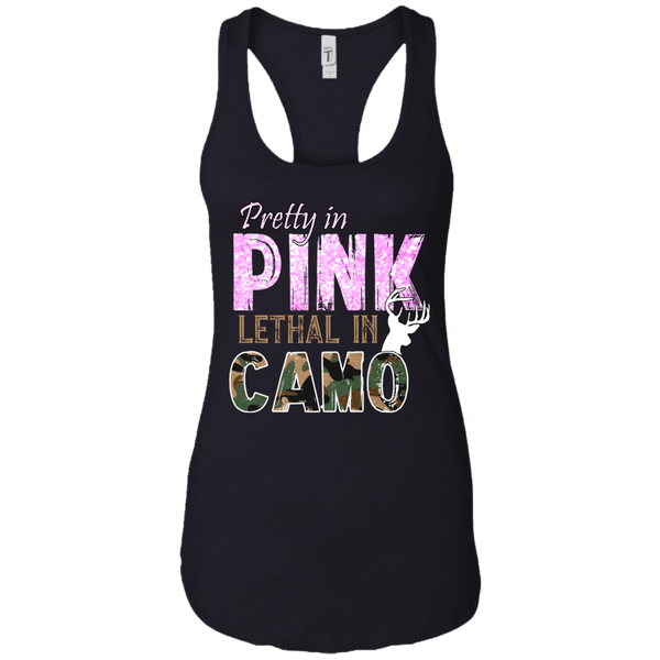 """Pretty In Pink. Lethal In Camo"" Next Level Ladies Ideal Racerback Tank"