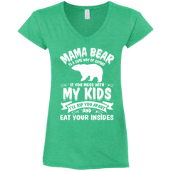 Mama Bear Top G64VL Gildan Ladies' Fitted Softstyle 4.5 oz V-Neck T-Shirt