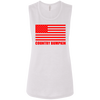 """Country Bumpkin"" Red American Flag B8803 Ladies' Flowy Muscle Tank"