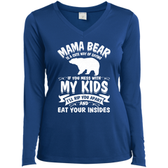 Mama Bear Top LST353LS Sport-Tek Ladies' LS Performance V-Neck T-Shirt