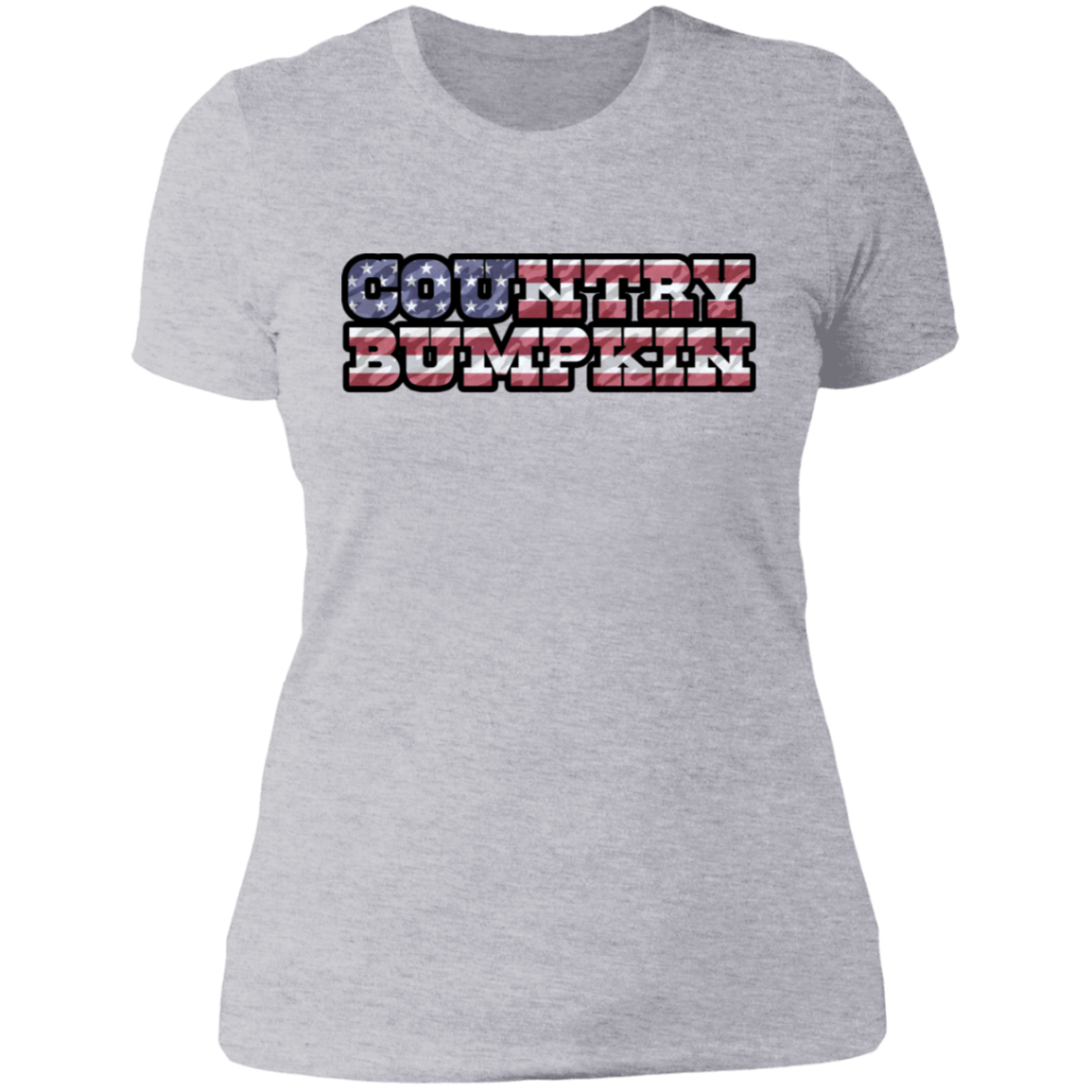 """Country Bumpkin"" Camo US Flag Text Next Level Ladies' Boyfriend T-Shirt"