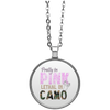 """Pretty In Pink. Lethal In Camo"" Circle Necklace"