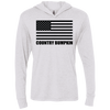 Country Bumpkin Black USA Flag NL6021 Unisex Triblend LS Hooded T-Shirt