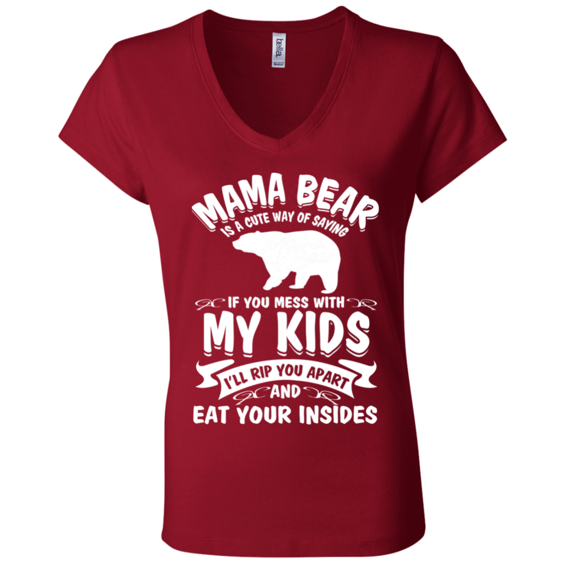 Mama Bear Bella + Canvas Ladies' Jersey V-Neck T-Shirt