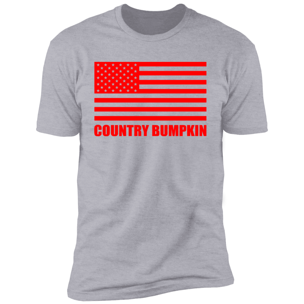 """Country Bumpkin"" Red American Flag NL3600 Premium Short Sleeve T-Shirt"