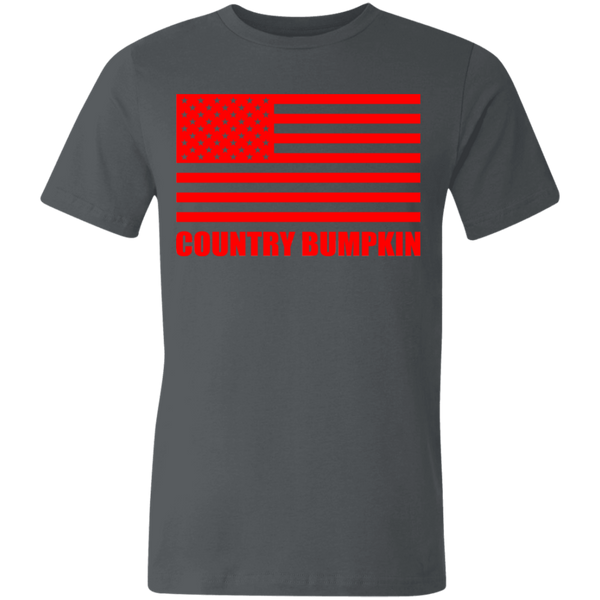 """Country Bumpkin"" Red American Flag 3001U Unisex Made in the USA Jersey Short-Sleeve T-Shirt"