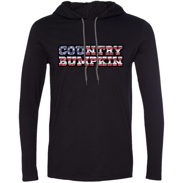 """Country Bumpkin"" Camo US Flag Text Anvil LS T-Shirt Hoodie"