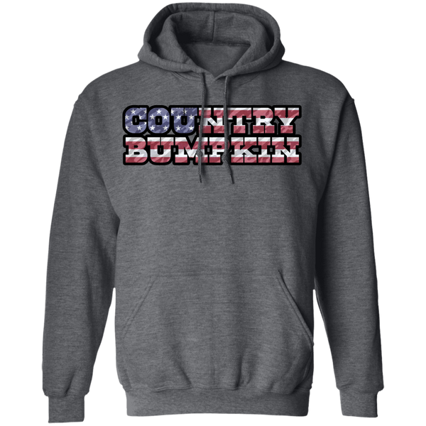"""Country Bumpkin"" Camo US Flag Text Pullover Hoodie 8 oz."