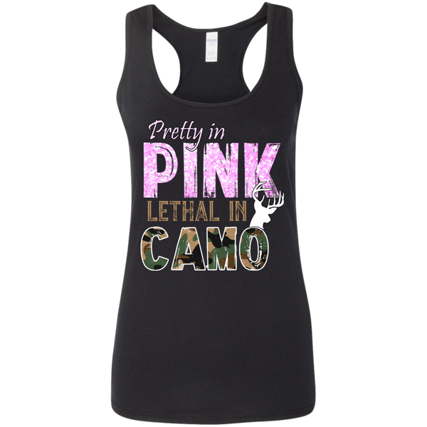 """Pretty In Pink. Lethal In Camo"" Gildan Ladies' Softstyle Racerback Tank"