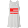 """Country Bumpkin"" Red American Flag B8800 Flowy Racerback Tank"