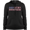 """Country Bumpkin"" Camo US Flag Text Sport-Tek Ladies' Pullover Hooded Sweatshirt"
