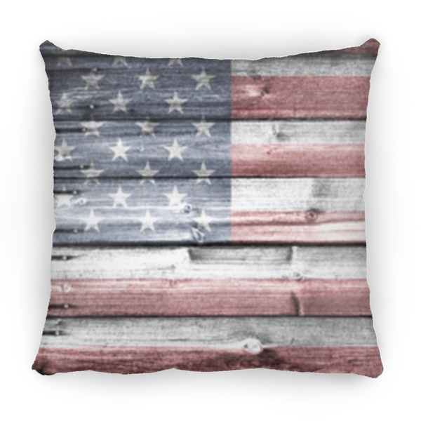 Rustic Wooden Flag Square Pillow 14x14