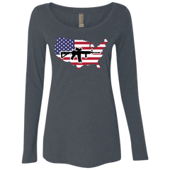2A USA Ladies' Triblend LS Scoop
