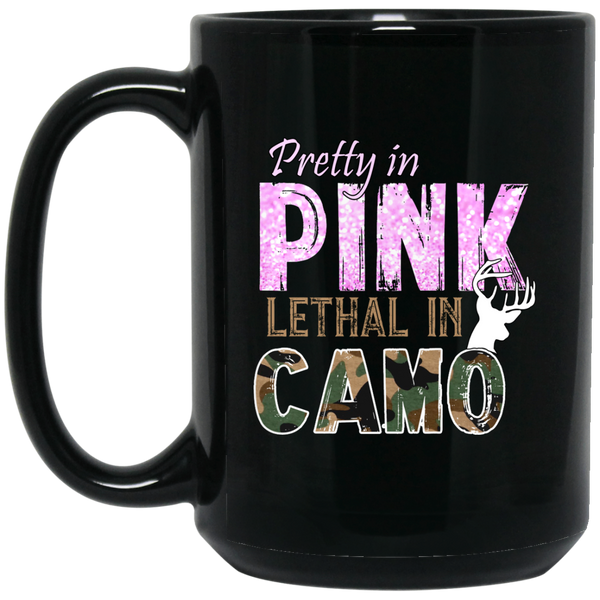 """Pretty In Pink. Lethal In Camo"" 15 oz. Black Mug"