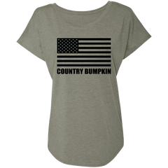 Country Bumpkin Black USA Flag NL6760 Ladies' Triblend Dolman Sleeve