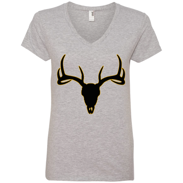 Buck Head Deer Skull 88VL Anvil Ladies' V-Neck T-Shirt