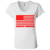 """Country Bumpkin"" Red American Flag B6005 Ladies' Jersey V-Neck T-Shirt"