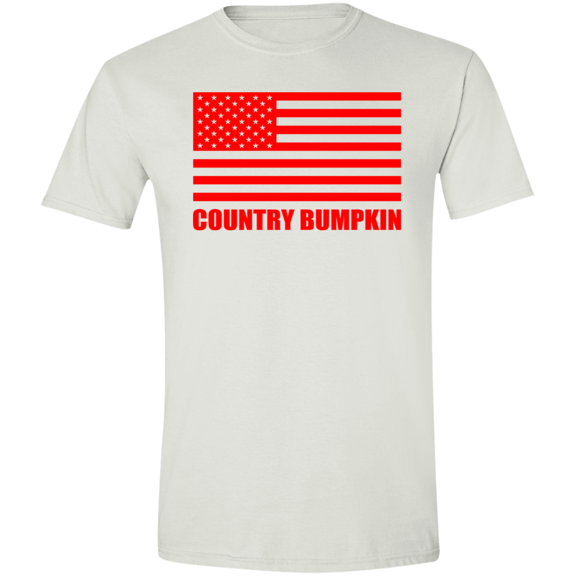 """Country Bumpkin"" Red American Flag G640 Softstyle T-Shirt"
