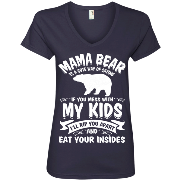 Mama Bear Top 88VL Anvil Ladies' V-Neck T-Shirt